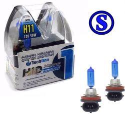 Par Lampada Super Branca H11 8500k Tipo Xenon Techone