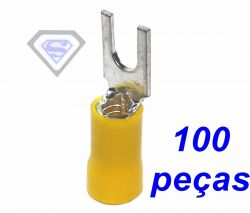 terminal pré encapado forquilha garfo amarelo fio até 4 mm² 100 peças