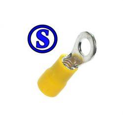 100 terminal olhal pré encapado amarelo  para fio 4 á 6  mm² furo 5mm