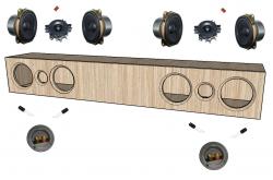 """kit construção soundbar 2 vias duplo 2x 4"""""""
