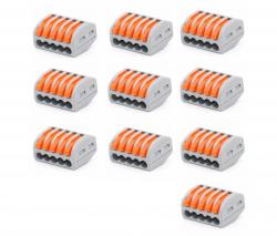 10 conector pct 215 derivador 5 vias iluminação elétrica  alavanca emenda